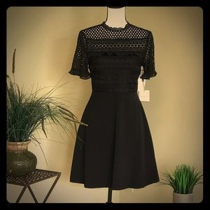 Laundry Short Black Cocktail Dress with Lace Top
